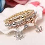 Beautiful Three Ship Anchor Bracelets Set Women Fashion Jewelry