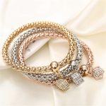Beautiful Three Cube Bracelets Set Women Fashion Jewelry
