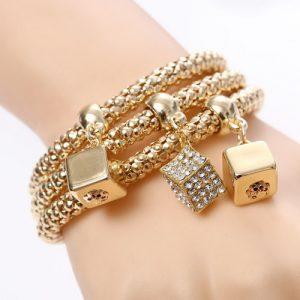 Beautiful Three Dice Bracelets Set Women Fashion Jewelry