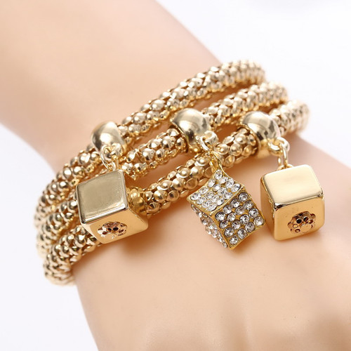 Beautiful Three Dice Bracelets Set Women Fashion Jewelry
