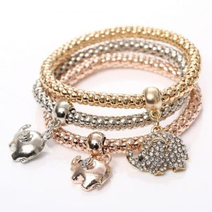 Beautiful Three Elephant Bracelets Set Women Fashion Jewelry
