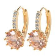 Gorgeous 18K Gold Filled Champagne Crystal Cubic Zirconia Women Earrings