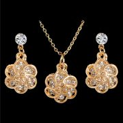 Flower Cubic Zirconia Earrings Pendant Necklace Set Women Fashion Jewelry