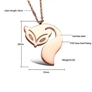 Pretty Fox Rose Gold Plated Pendant Necklace Women Fashion Jewelry