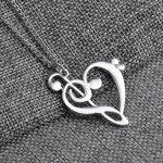 Attractive Heart Note Music Love Pendant Necklace Women Fashion Jewelry