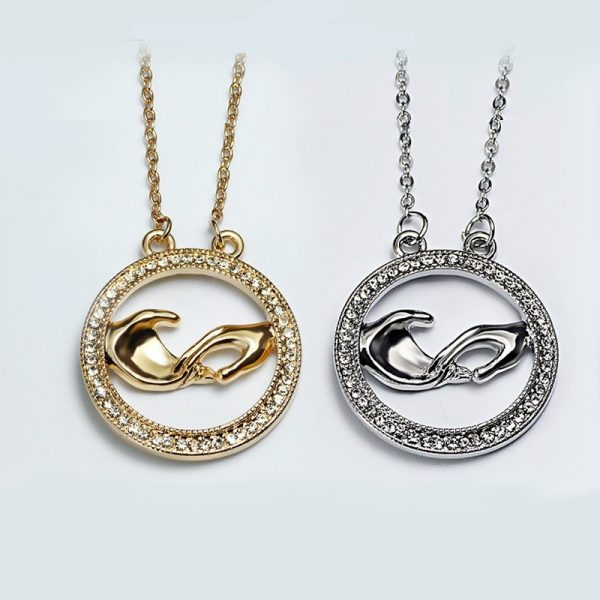 Graceful Rhinestone Hand Round Pendant Necklace Women Fashion Jewelry
