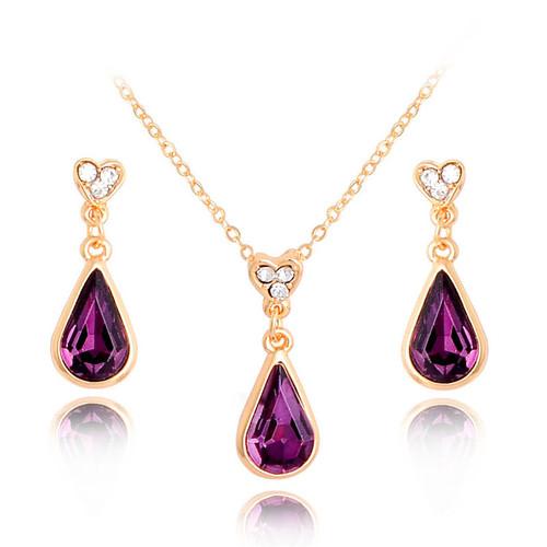 Water Drop Purple Earrings Pendant Necklace Women Fashion Jewelry Set