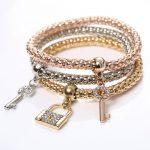 Beautiful Three Key Lock Bracelets Set Women Fashion Jewelry