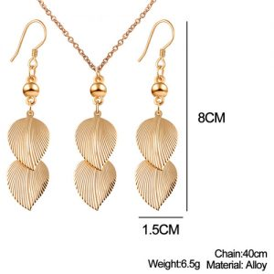 Dangling Double Leaves Earrings Pendant Necklace Women Fashion Jewelry