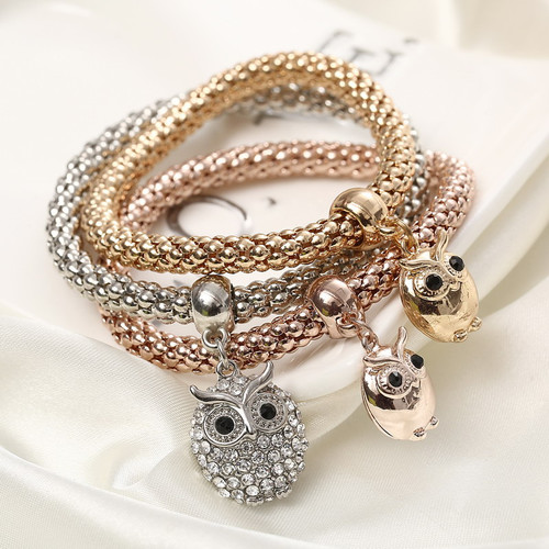 Beautiful Three Owl Bracelets Set Women Fashion Jewelry