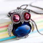 Cute Rhinestone Long Chain Owl Pendant Necklace Women Fashion Jewelry