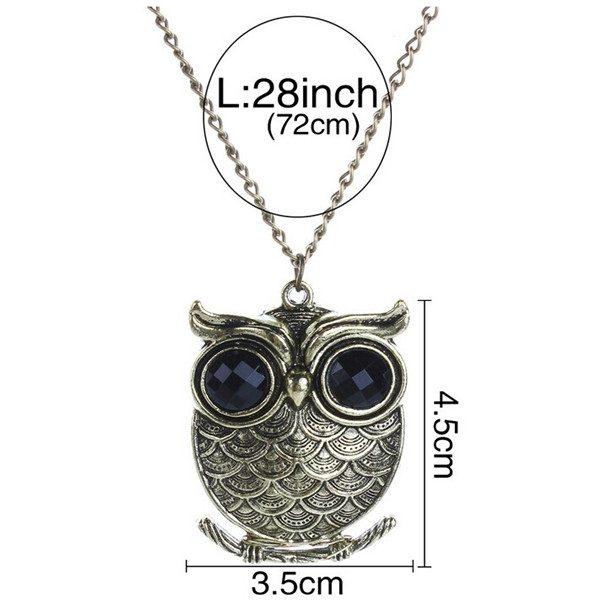 Cute Bronze Owl Long Chain Women Pendant Necklace