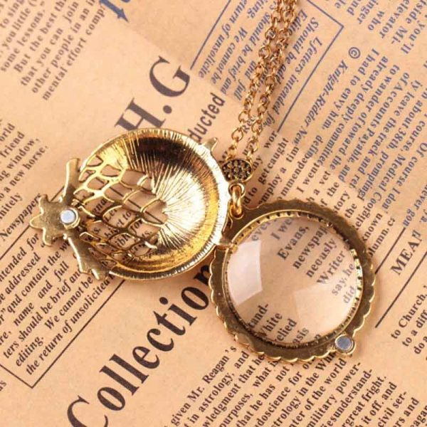 Gold Owl Retro Multifuncational Magnifier Pendant Necklace