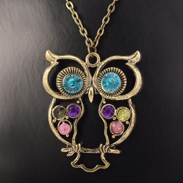 Beautiful Rhinestone Bronze Hollow Owl Women Pendant Necklace