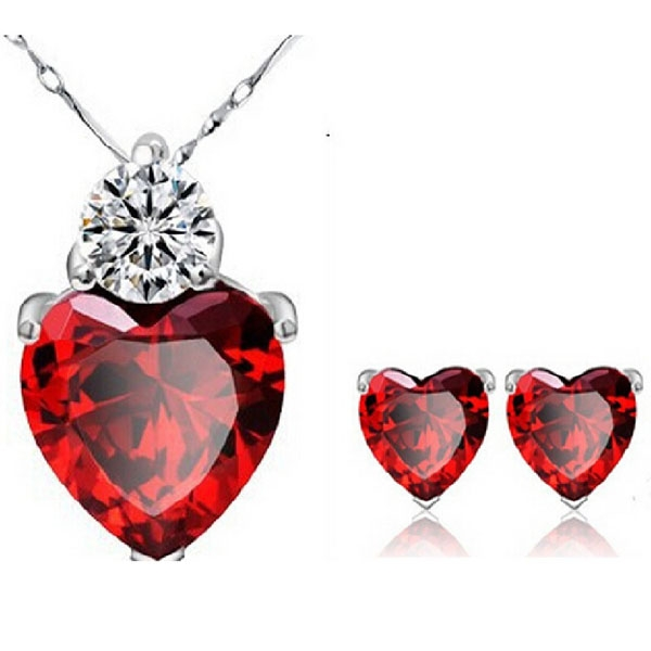 Gorgeous Crystal CZ Red Heart Women Earrings Pendant Necklace Set