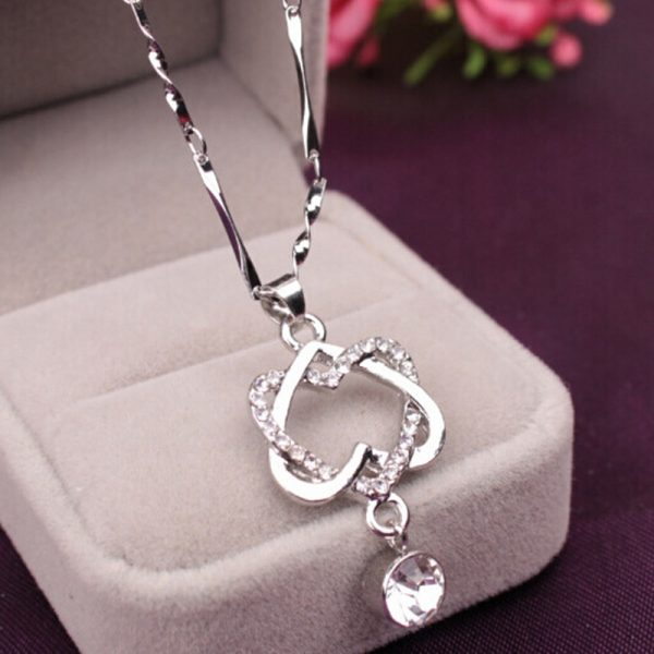 Pretty Rhinestone Linked Heart Pendant Necklace Women Fashion Jewelry