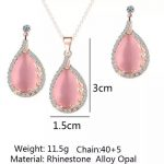 Gorgeous Crystal Opal Women Earrings Pendant Necklace Set