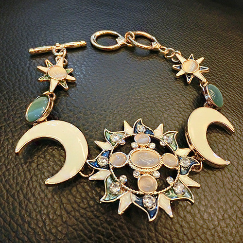 Charming Colorful Crystal Sun Moon Star Women Bracelet