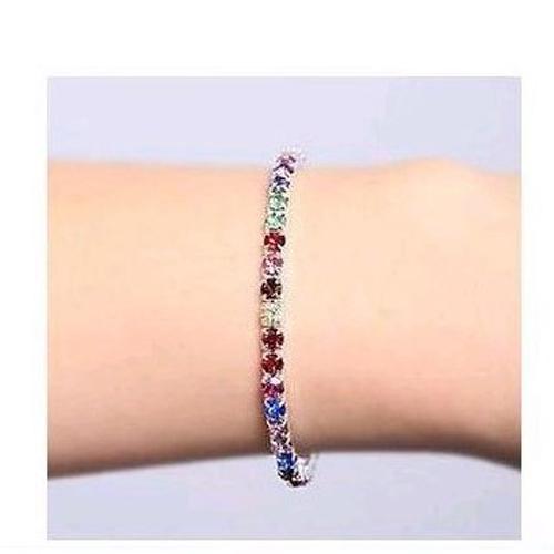 Elegant Multi Color Inlaid Rhinestone Elastic Women Bracelet