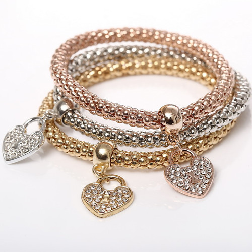Beautiful Three Crystal Heart Bracelets Set Women Fashion Jewelry