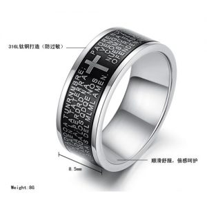 Amazing Classic Cross Bible Ring Men Fashion Jewelry-Black