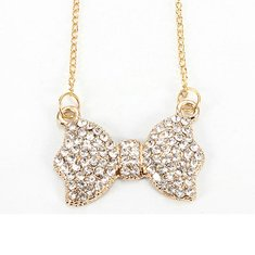 Cute Crystal Bowknot Pendant Necklace Women Fashion Jewelry
