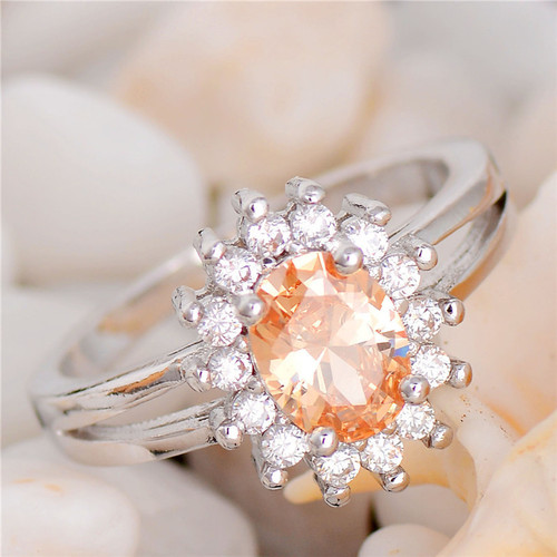 Elegant Champagne Cubic Zirconia Silver Plated Women Ring
