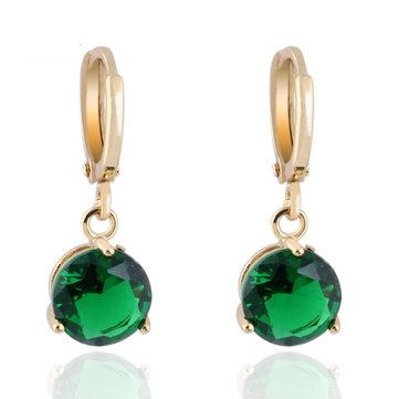 Sweet Crystal Round Drop Earrings Women Fashion Jewelry