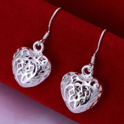 Elegant Hollow Heart Earrings Silver Plated Women Fashion Jewelry
