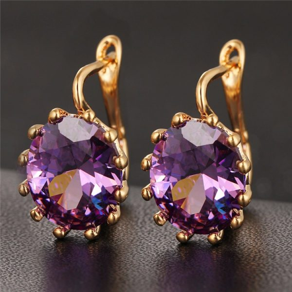 Attractive Austrian Crystal Round Earrings Women Fashion Jewelry
