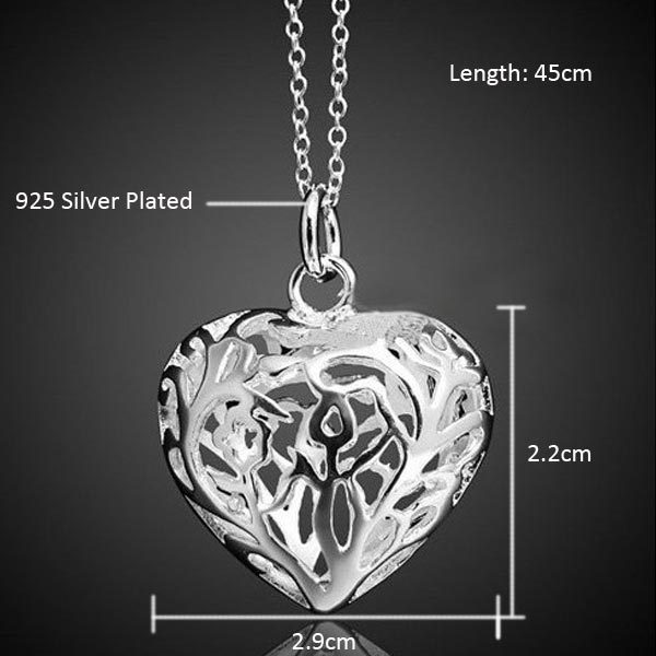Elegant Hollow Heart Pendant Necklace Silver Plated Women Fashion Jewelry
