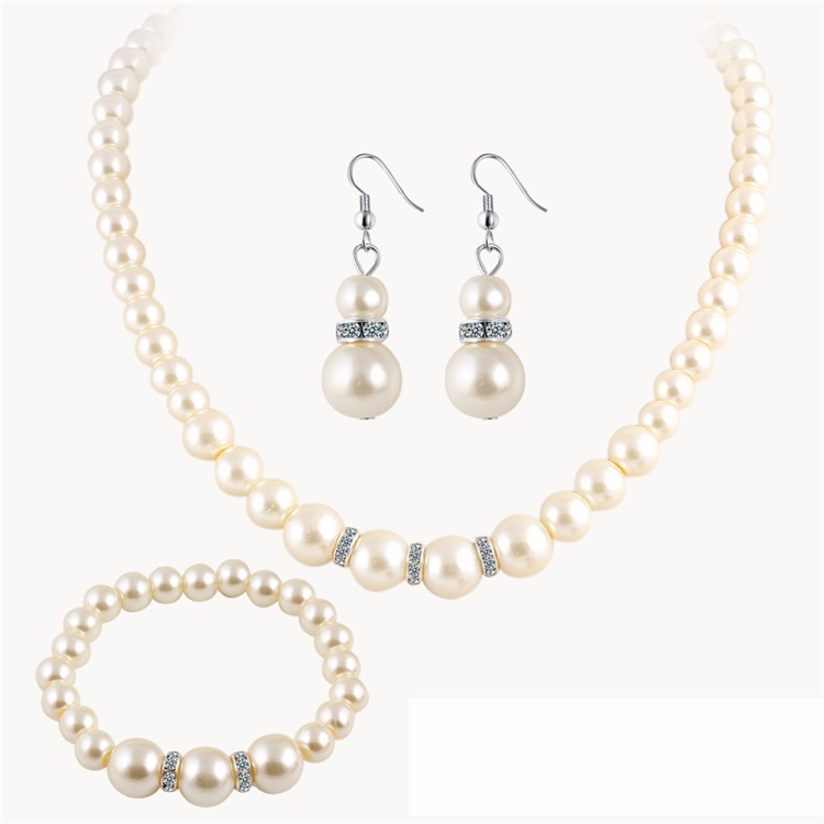 Graceful Pearl Earrings Pendant Necklace Women Fashion Jewelry Set