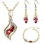 Lovely Cubic Zirconia Necklace Earrings Bracelet Jewelry Set