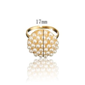 Graceful Faux Pearls Adjustable Ring Women Fashion Jewelry