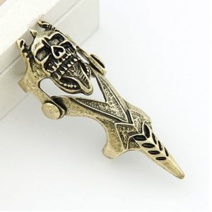 Impressive Long Ring Finger Skull Head Shape Men Fashion Jewelry