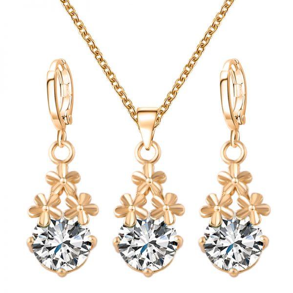 Lovely Austrian Crystal Earrings Pendant Necklace Women Jewelry Set