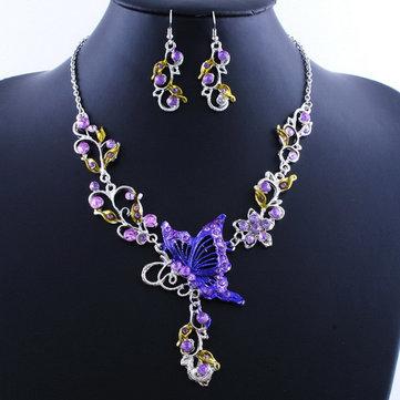 Crystal Butterfly Earrings Necklace Women Jewelry Set