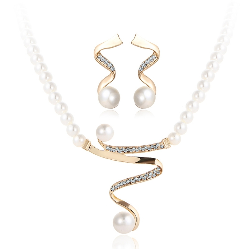 Bridal Jewelry Set Pearl Curly Pendant Necklace Earrings Golden