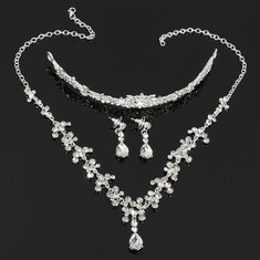 Pretty Crystal Earrings Necklace Crown Bridal Fashion Jewelry Set