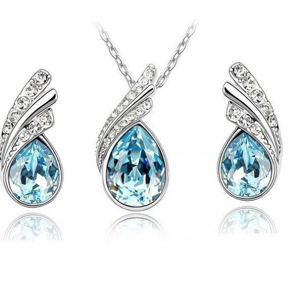 Elegant Crystal Rhinestone Earrings Pendant Necklace Jewelry Set