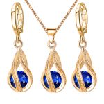 Pretty Crystal Dangle Earrings Pendant Necklace Women Fashion Jewelry Set