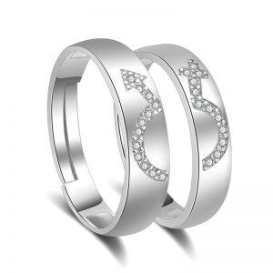 Korean Fashion Jewelry Men Women Adjustable Couple Rings