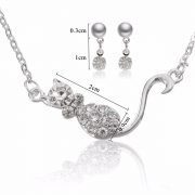 Beautiful Crystal Rhinestone Little Cat Necklace Earrings Jewelry Set