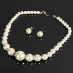 Crystal Pearl Necklace Earrings Women Fashion Jewelry Set