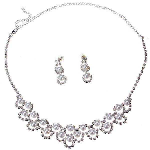 Pearl Rhinestone Crystal Necklace Earrings Bridal Jewelry Set
