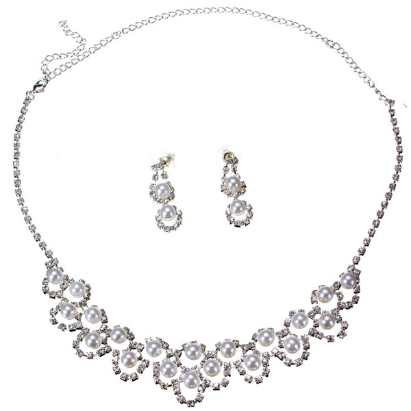Pearl Rhinestone Crystal Necklace Earrings Bridal Jewelry Set