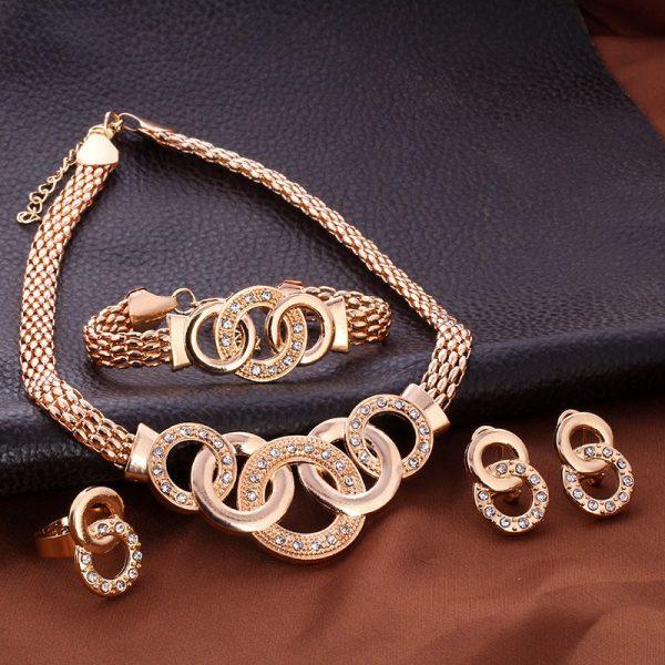Crystal Rhinestone Ring Earrings Bracelet Necklace Women Jewelry Set