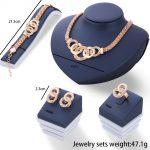 Crystal Rhinestone Adjustable Ring Earrings Bracelet Necklace Women Jewelry Set