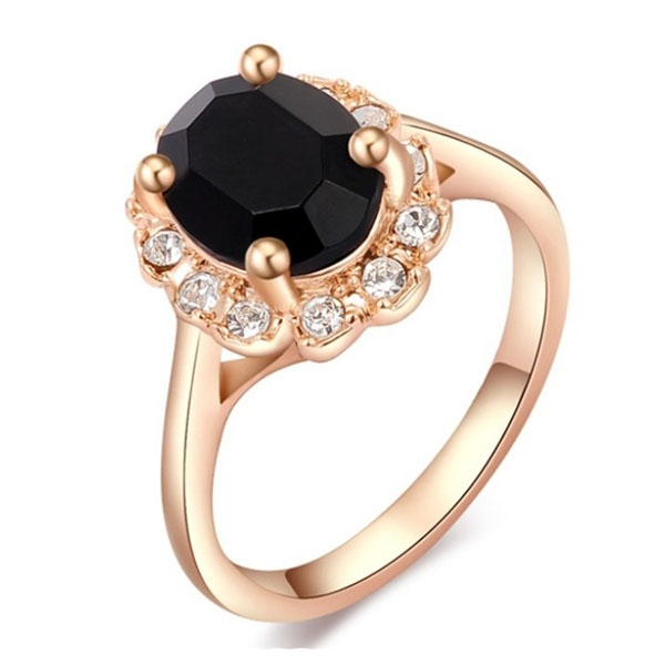 Beautiful Roxi Crystal Bridal Ring Rose Gold Women Ring-Black