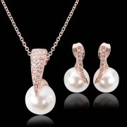 Crystal Pearl Necklace Earrings Women Jewelry Set Rose Gold Plated